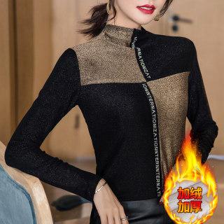 加绒加厚半高领打底衫女2020秋冬新款时尚撞色烫钻T恤女长袖上衣