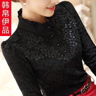 蕾丝打底衫女2020秋冬新款女装韩版长袖立领百搭黑色上衣