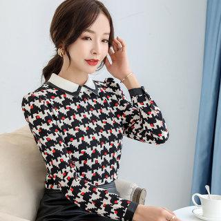 polo领气质雪纺衫女2020秋装新款韩版套头时尚几何图案长袖打底衫