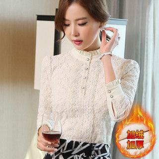 2020秋冬装新款女装韩版加厚保暖立领上衣修身显瘦蕾丝长袖打底衫