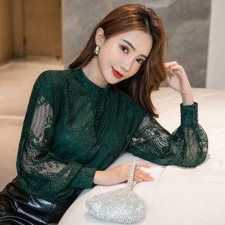蕾丝衫打底衫灯笼长袖镂空上衣2020秋装新款韩版套头大码显瘦女装