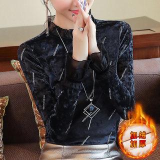 2020秋冬装新款女装加绒保暖长袖打底衫套头修身上衣立领蕾丝衫
