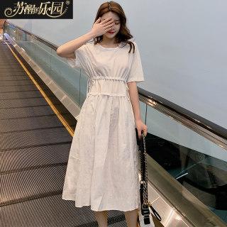 2020春夏新款女式休闲时尚韩版纯色显瘦短袖连衣裙