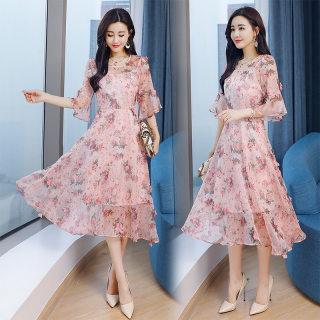 春夏季2020新款时尚气质圆领印花优雅中长款连衣裙