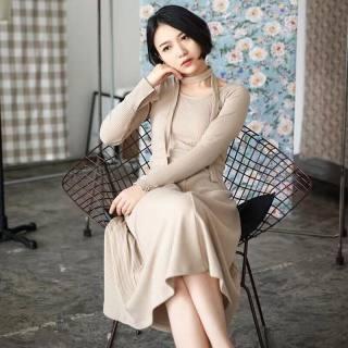 连衣裙女2020秋冬装新款长袖韩版圆领休闲长款高腰系带过膝长裙子
