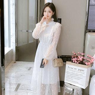【清新淑女】法国小众立领中长款蕾丝修身连衣裙