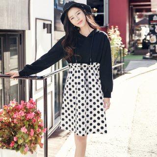 2020春季新款韩版女装收腰假两件波点长袖连衣裙