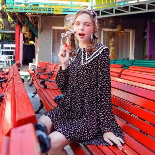 2020初秋长袖连衣裙法式复古娃娃领碎花裙女长袖小个子高腰裙子