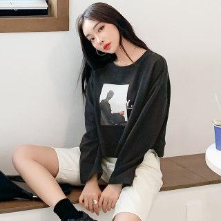春新款韩版短款宽松打底衫女2020洋气ins长袖T恤