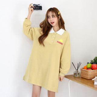2020韩版女装春装新款宽松直筒印花POLO领连衣裙