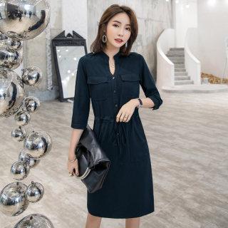 V领连衣裙女2019夏装新款韩版中长款七分袖束腰显瘦洋气开叉a字裙子