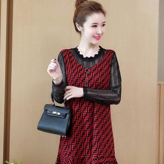 胖MM2020春季新款韩版宽松显瘦网纱拼接假两件连衣裙女减龄