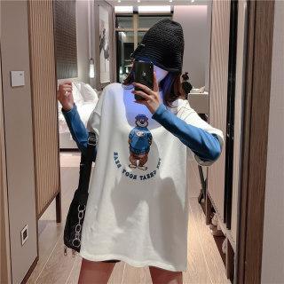 2020春新装洋气内搭打底衫女宽松卡通印花假两件长袖T恤女