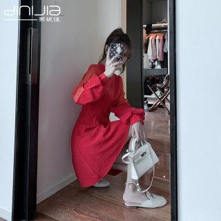 秋装新款女红色连衣裙气质女神范衣服智熏裙法式高腰A字裙