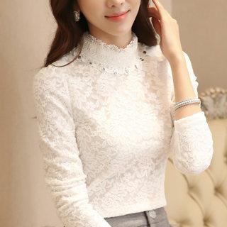 蕾丝打底衫2020女长袖新款韩版秋冬大码加绒蕾丝上衣潮
