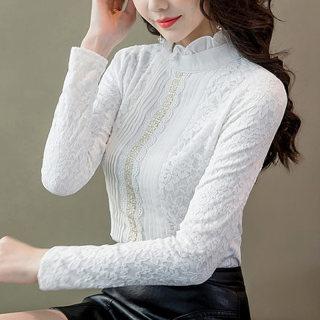 2020春装新款 女韩版百搭网纱拼接蕾丝雪纺圆领套头长袖打底衫