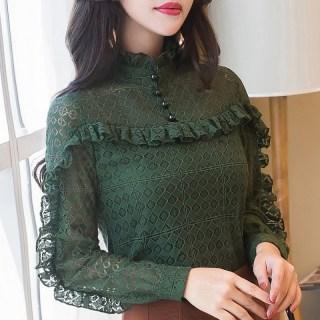 加绒加厚蕾丝打底衫女2020秋冬装新款韩版长袖立领荷叶边修身上衣女