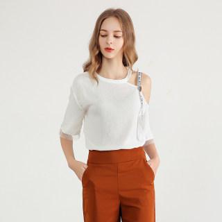女装2020春季新款韩版时尚小香风漏肩蕾丝花边半袖雪纺衫女