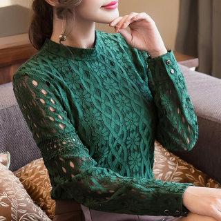 蕾丝打底衫女长袖2020春秋新款女装修身立领百搭网纱上衣