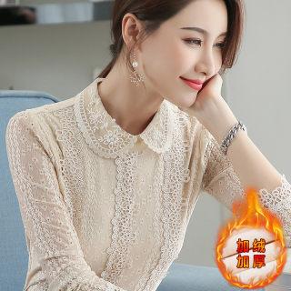 2020秋冬装新款女装娃娃领韩版加绒上衣修身时尚修身显瘦长袖蕾丝打底衫