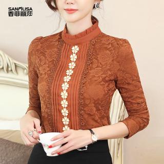2020秋装新款韩版女装立领上衣气质雪纺衫修身显瘦蕾丝长袖女打底衫