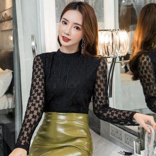 蕾丝上衣女长袖2020秋装新款韩版女套头镂空宽松百搭打底衫