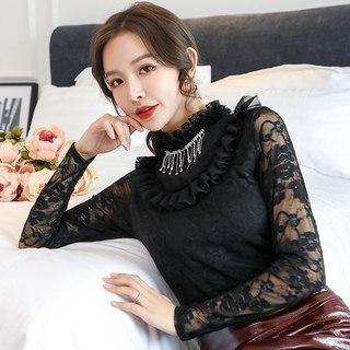 蕾丝花边领2020秋冬季新款优雅纯色钉珠荷叶花边衫修身显瘦上衣