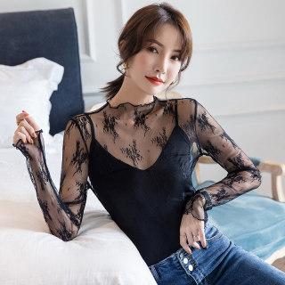 蕾丝衫女网纱小衫韩版内搭很仙的薄上衣