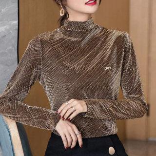 加绒加厚2020秋冬新款韩版潮金丝长袖刺绣女T恤长袖套头上衣