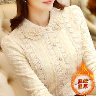 20209秋冬装新款女装韩版加绒POLO领上衣纯色长袖打底衫修身蕾丝衫