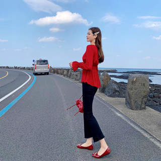 新款2020女装新款冬季洋气新年红套上衣女时尚气质小个子轻熟风衬衫女装