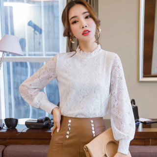 长袖女蕾丝衫2020秋装新款韩版女装上衣白色半高领镂空打底衫