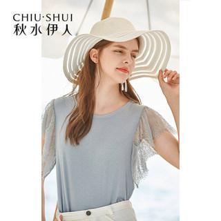 上衣2020夏新款女装纯色蕾丝镂空气质淑女洋气雪纺衫女