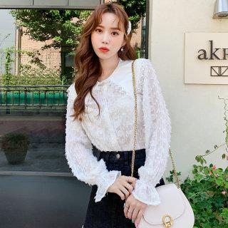 2020夏装新款韩版女装宽松上衣蕾丝开衫雪纺衫