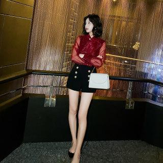 红色蕾丝打底衫女2020春装新款短款闪亮小衫时尚百搭洋气内搭上衣