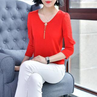 2020春季新款女装V领纯色蝙蝠长袖纯色上衣针织衫T恤衬衫