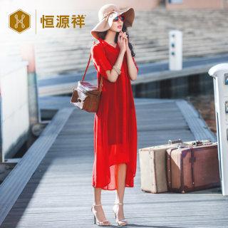 中长款开衫雪纺衫外披女夏季红色防晒衣外套罩衫宽松薄外搭