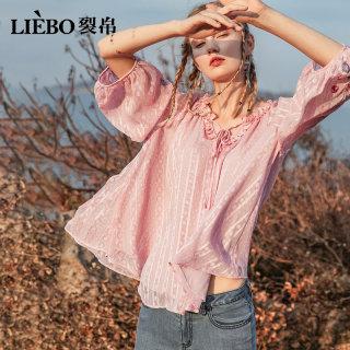 圆领宽松七分袖雪纺衫女2020新款夏装花边刺绣洋气很仙的小衫