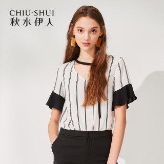 新款女装2020夏装时尚撞色条纹V领系带荷叶短袖雪纺衫