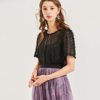 上衣2020夏装新款女装洋气纯色时尚镂空网纱吊带两件套