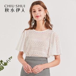 蕾丝衫2020夏装新款女装圆领雪纺短袖气质洋气小衫上衣