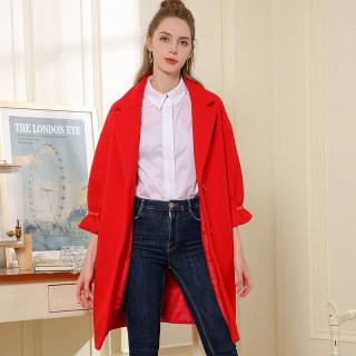 女装2020冬季新款韩版宽松大码多色可选七分袖中长款毛呢外套