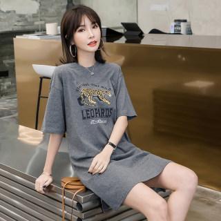 纯棉短袖t恤女2020夏装新款韩版宽松动物印花开叉中长款圆领上衣
