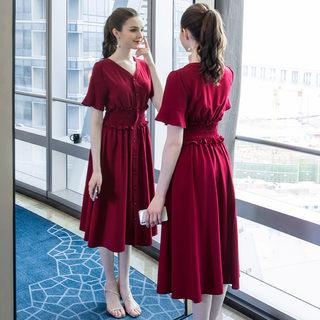 大码女装2020夏装新款时尚收腰法式中长款连衣裙胖mm显瘦裙子
