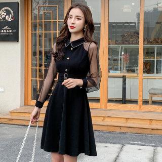 2020春季复古连衣裙女装小香风网纱长袖娃娃领小黑裙