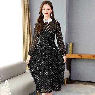 雪纺连衣裙春季内搭2020春装新款女装长袖流行长款碎花长裙子