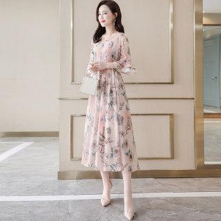 2020新款女春季圆领荷叶袖印花气质中长款连衣裙
