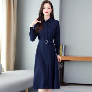 2020春季新款韩版收腰显瘦中长衬衣款连衣裙