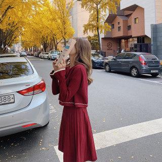 2020春季新款马甲连衣裙两件套中长款红色毛衣针织长袖裙子小个子打底裙女