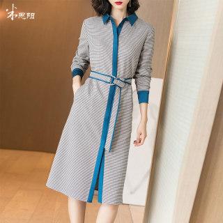 2020秋季新款时尚复古格纹拼接系带收腰显瘦衬衫连衣裙女